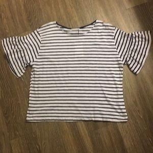 NWT Stripe Ruffle Sleeve Top
